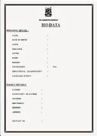 image result  simple biodata format  job fresher