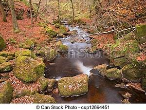 Burbage brook flowing through autumnal padley gorge in