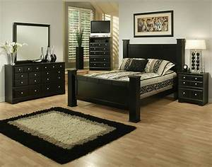 Black queen bed 4pc queen size bedroom set with wood for 4pc queen size bedroom set with wood grain in black finish