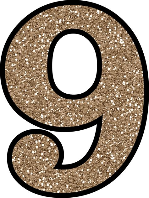 free glitter numbers 0 9 to and print