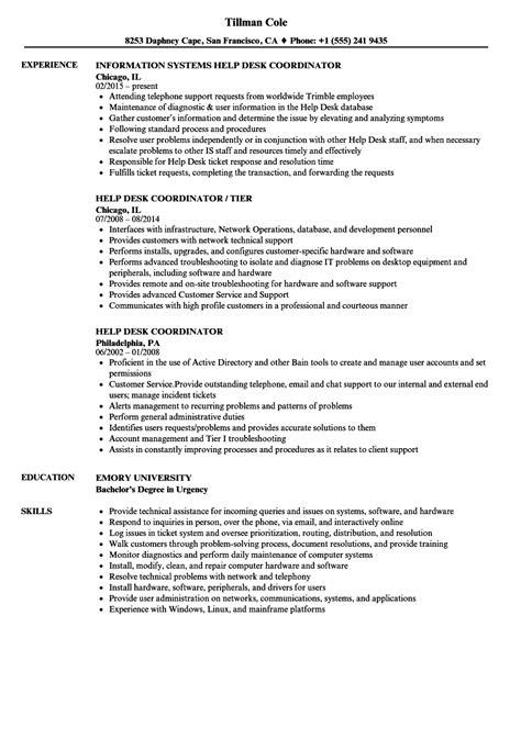 help desk coordinator resume sles velvet