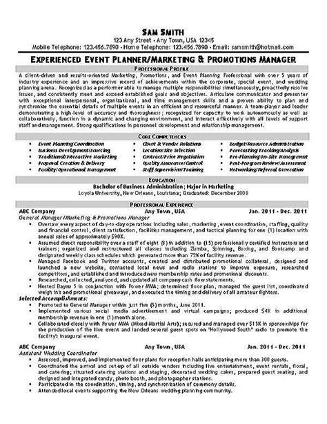 Event Planner Resume by Event Planner Resume Exle Resume Exles Planners