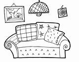 Coloring Living Rooms Coloringcrew Template sketch template