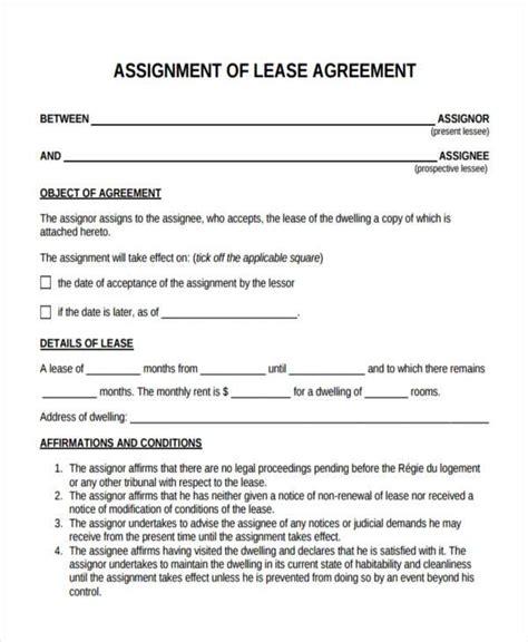 free assignment of lease form 10 assignment agreement form sles free sle