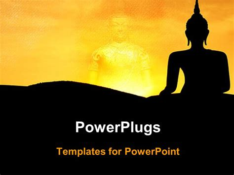 Powerplugs Templates For Powerpoint by Powerpoint Template Two Buddha Images On A Yellow And