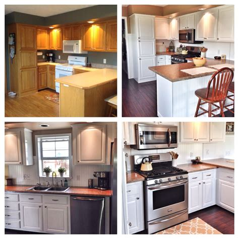Before And After Kitchen Painted Cabinets White, Bamboo
