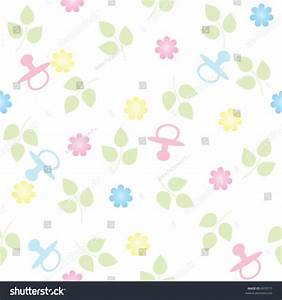 Pink Blue Pacifiers Flowers Repeating Seamless Stock ...