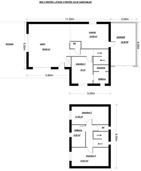 plan maison 3 chambres 1 bureau top plan maison plain pied chambres bureau plans de