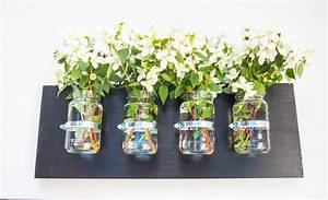 wooden 4 jam jar vase candle holder wall hanging made With kitchen cabinets lowes with jam jar candle holders