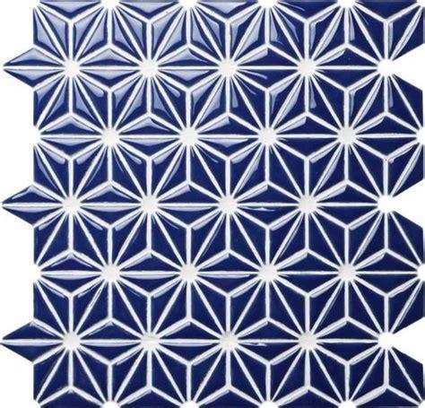Ceramic Mosaic Tile Flower Navy Blue   Mineral Tiles
