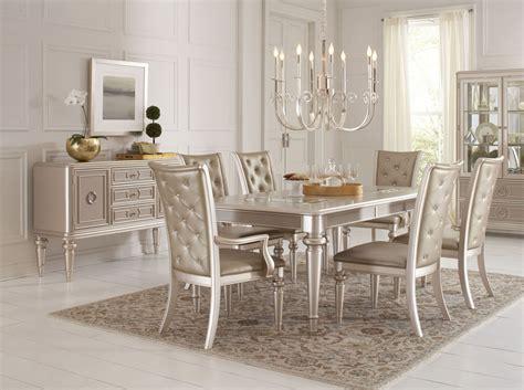 dynasty gold metallic extendable rectangular leg dining