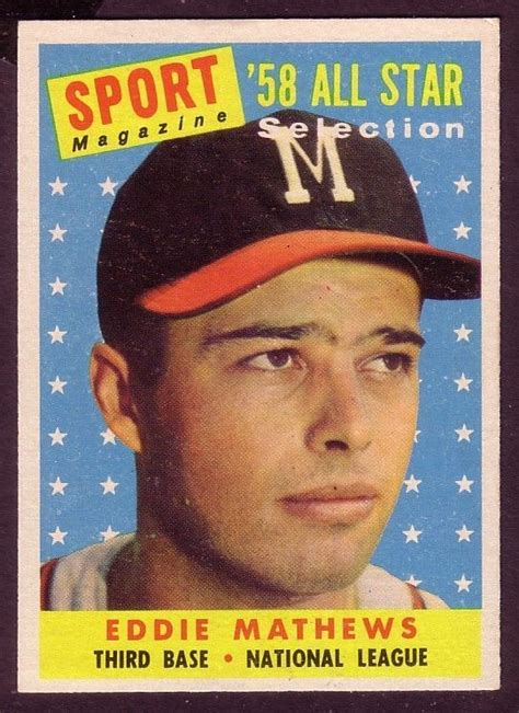 Sport card memorabilia expo canada s largest sports collectables. Details about 1958 TOPPS EDDIE MATHEWS ALL STAR CARD NO ...