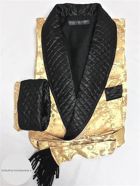 mens gold quilted paisley silk dressing gown  full length