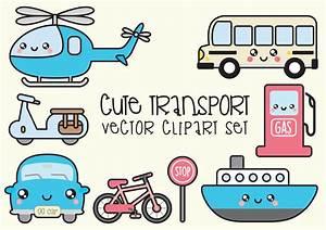 Premium Vector Clipart - Kawaii Transport Clipart - Kawaii ...