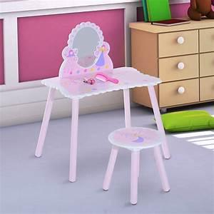 Coiffeuse En Bois Petite Fille : homcom coiffeuse table de maquillage pour enfant avec miroir tabouret motif papillon rose ~ Teatrodelosmanantiales.com Idées de Décoration