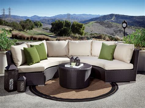 sunset west solana wicker 3 curved sectional set