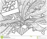 Gift Coloring Box Line Vector Confetti Spread Openned Element Adult Il sketch template