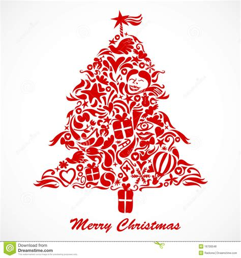 roter weihnachtsbaum vektor abbildung illustration von