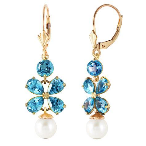6 28 carat 14k solid gold chandelier earrings blue topaz
