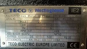 Teco Westinghouse 90kw 3 Phase Electric Motor 1500rpm 4 Pole