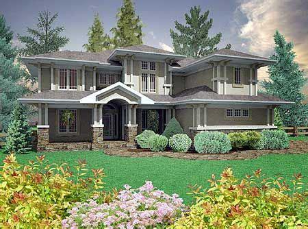 plan pn prairie style home   car garage prairie style houses  house plans