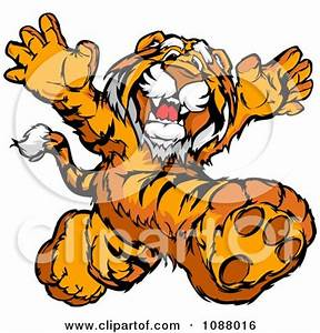 Clipart Happy Tiger Mascot Running Upright - Royalty Free ...
