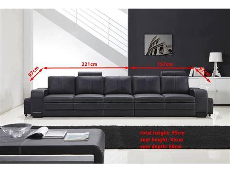 canapé 5 places droit grand canapé droit en cuir pleine fleur fabio 5 places