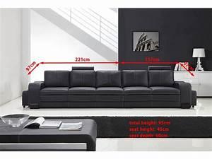 Canapé Droit 5 Places : grand canap droit en cuir pleine fleur fabio 5 places ~ Premium-room.com Idées de Décoration
