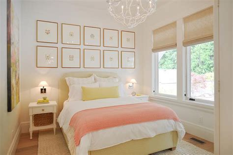 pink and yellow bedroom pink and yellow bedrooms cottage bedroom 16698 | yellow and pink bedroom design butter yellow bed pink herringbone throw