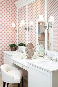 girls bathroom fun wallpaper with simple white details With girl strips in bathroom