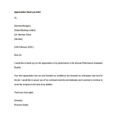thank you letter appreciation thank you letter for appreciation 10 free word excel 32939