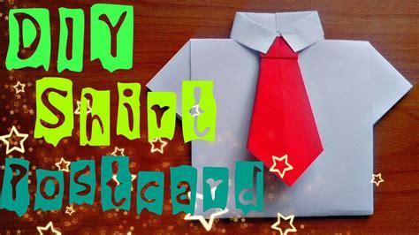diy    paper shirt easy origami craft postcard