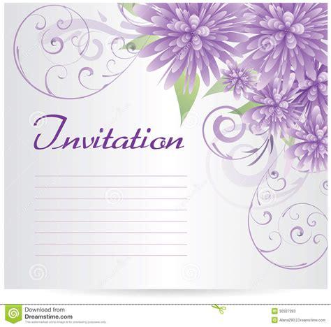 invitation template blank  purple abstract flowers