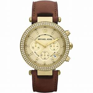 Women's Leather Strap Chronograph Watch MK2249 - Michael ...