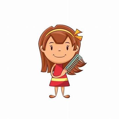 Comb Combing Clipart Cartoon Peigner Kid Child