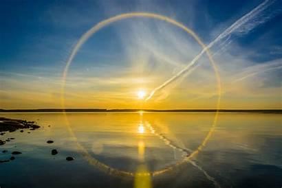 Sun Halo Reflection Lake Wallpapers Dog