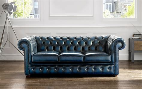 chesterfield leather sofa  seater antique blue