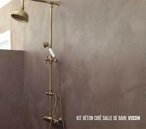 Béton ciré salle de bain douche italienne enduit décoratif mural kit