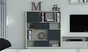 Bibliothèque Design Meuble : meuble bibliotheque design graphite vison 4 niveaux barreiro ~ Voncanada.com Idées de Décoration