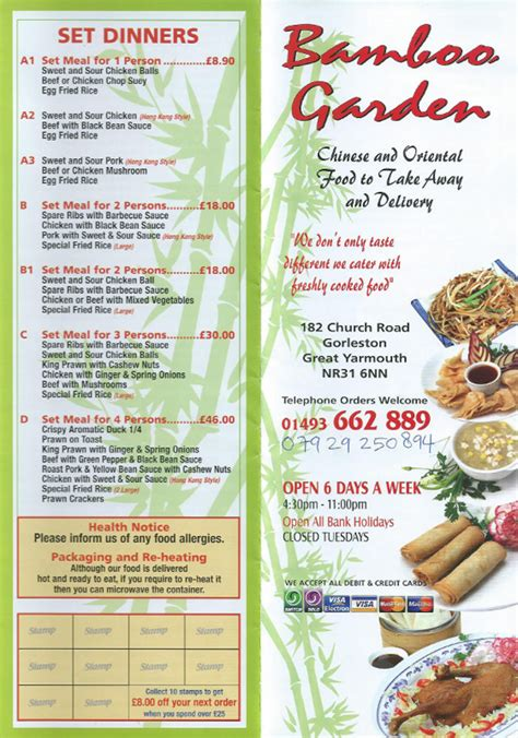 bamboo garden menu takeaway gorleston on sea norfolk menus deliveries