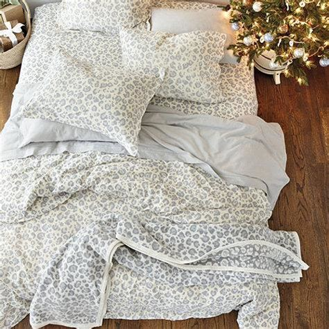 snow leopard flannel grey  white bedding