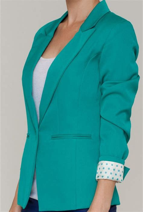 blazer business attire polka dot lined cropped blazer