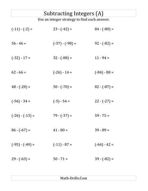 negative number addition and subtraction worksheets adding and subtracting positive negative numbers worksheet