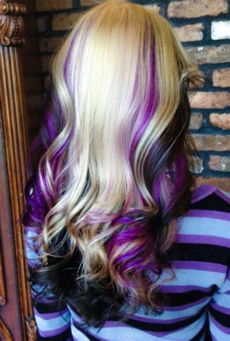 Blonde Purple And Black Hair Hair Med Long In 2019