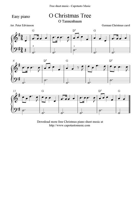 Sheet music for christmas carols and hymns. Free Christmas sheet music for easy piano solo, O Christmas Tree