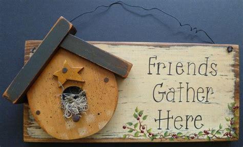 Primitive Garden Birdhouse Welcome Sign Hand Painted Wood