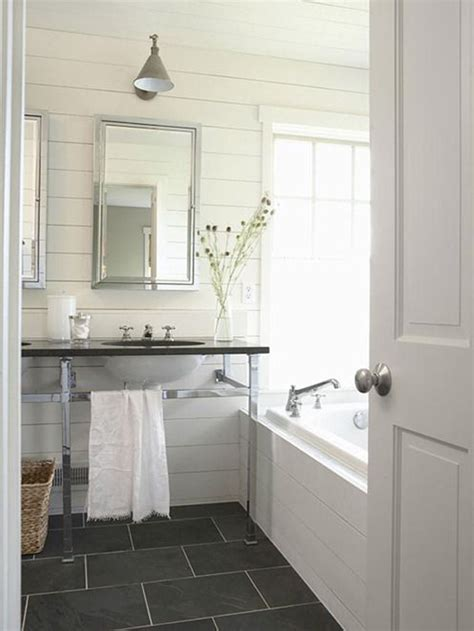 Gray Plank Tile Bathroom The White Plank Wall Trend Through The Front Door