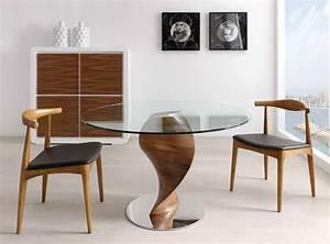 Table Ronde Verre Et Bois : table ronde bois et verre tornade ~ Teatrodelosmanantiales.com Idées de Décoration
