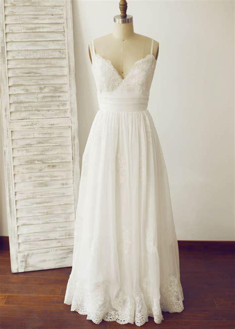 thin straps ivory lace chiffon long wedding dress
