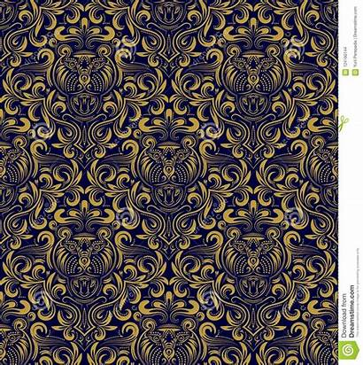 Repeating Floral Gold Damask Baroque Seamless Ornament
